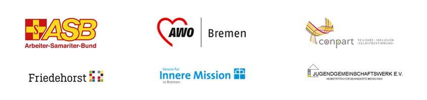 Gesamtübersicht der Logos von Tagesförderstätten, die für den Stadtführer Barrierefreies Bremen erhoben wurden.