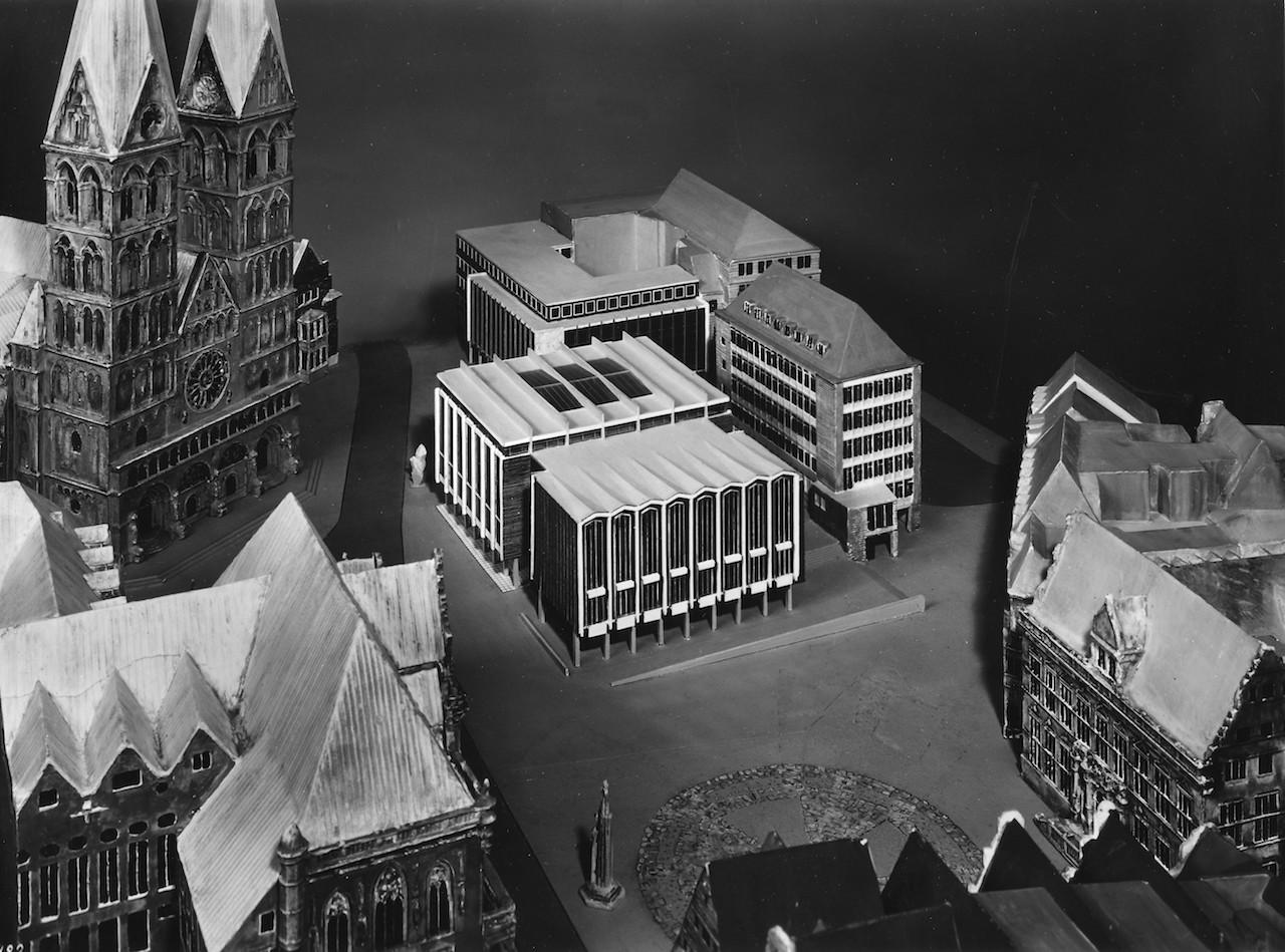 Entwurf des Gebäudes der Bremischen Bürgerschaft; Quelle: Archiv bremer zentrum für baukultur (b.zb)