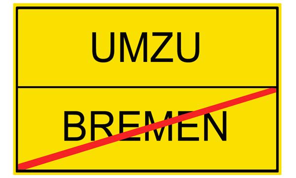 Grafik zeigt Ortsende von Bremen und Ortsanfang vom umgangssprachlichen umzu, also Umland