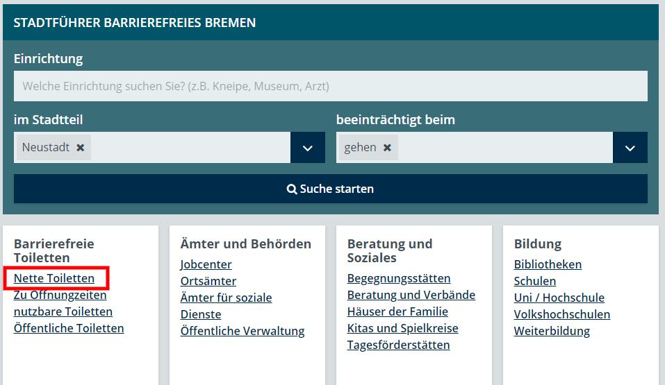 Grafik Suche Neustadt und Nette Toiletten