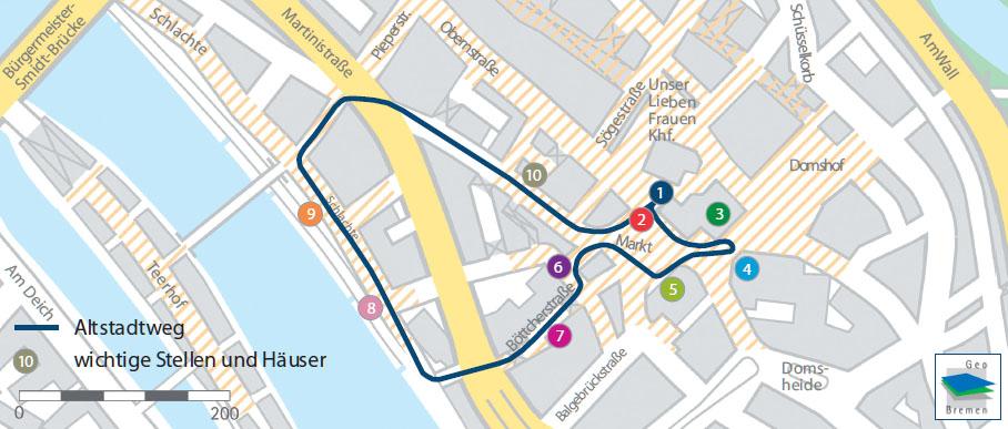 Karte mit allen Stationen vom Stadtrundgang durch die Altstadt in Leichter Sprache
