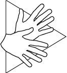 """Eine Grafik mit Händen in Bewegung vor einem """"Play""""-Symbol."""