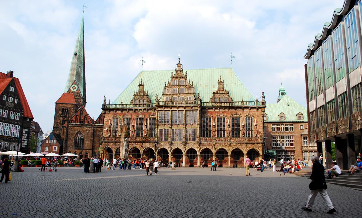 Blick auf das gotische Bremer Rathaus