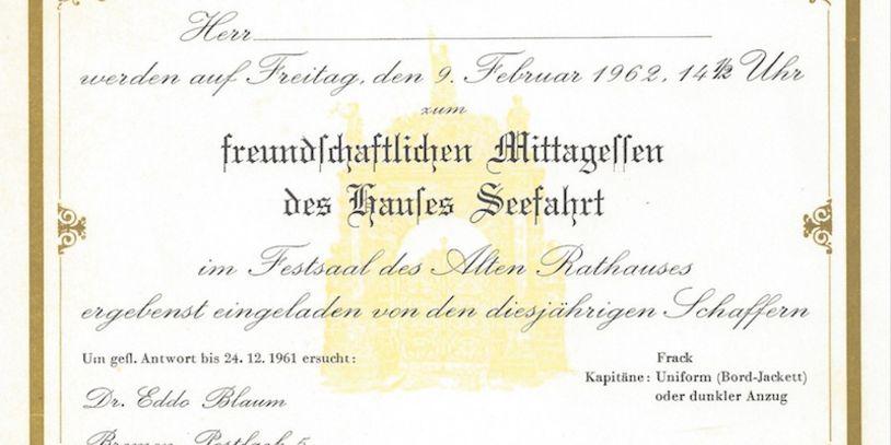 Eine Einladung zur Schaffermahlzeit 1962; Quelle: Albrecht Edzard