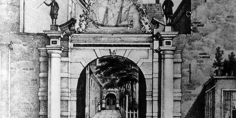 Ein altes Bild in schwarz-weiß vom Schaffermahl im Haus der Seefahrt