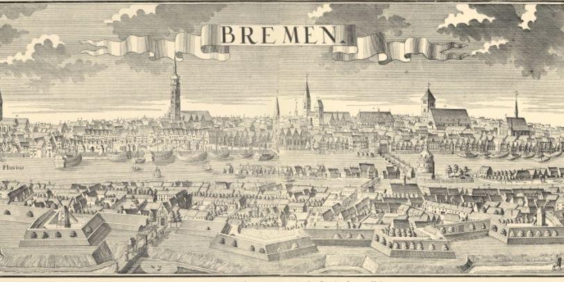 Eine gezeichnete Ansicht der Stadt Bremen von 1729