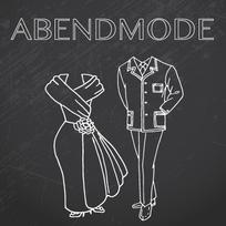 Schriftzug Abendmode in Bremen, Skizze eines Kleids und Anzugs