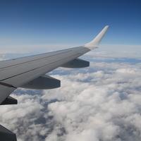 Flugzeugflügel, Fliegen, Himmel, Über den Wolken