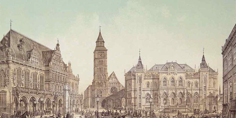 Diese Lithografie zeigt einen Marktplatz umringt von großen Gebäuden. Gegenüber die Türme eines Domes.