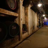 """Ein Korridor im Bremer Ratskeller der zur """"Schatzkammer"""" führt. Auf dem Weg sind viele Weinfässer"""