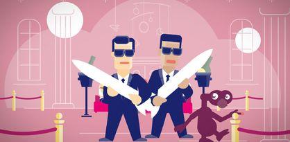 Zwei gezeichnete Männer halten Raketen in ihren Armen.