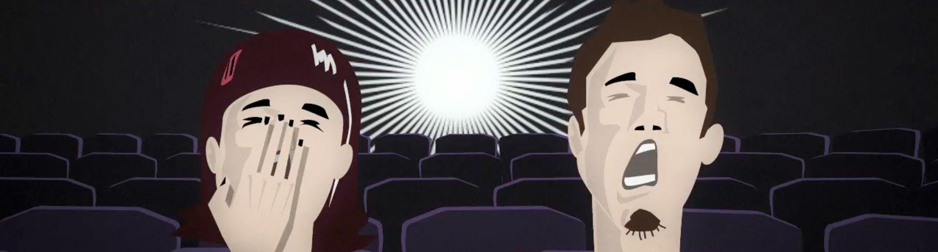 Zwei gezeichnete Menschen im Kino schreien entsetzt. Über ihnen steht das Wort Spiegelneuronen.