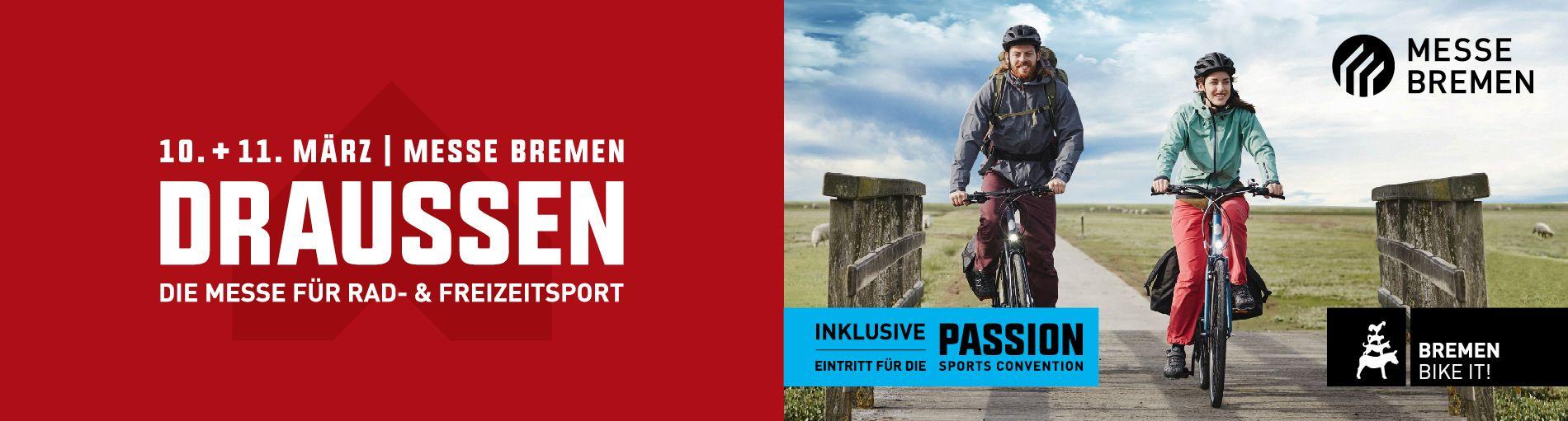 Ein Werbebild mit zwei Radfahrern für die Messe Draussen und Passion
