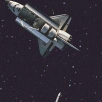 Planeten und Astronauten, die durch das All schweben