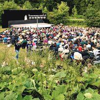 Eine Aufnahme der Veranstaltung. Zuschauer sitzen gespannt im Grünen und sehen auf die Bühne.