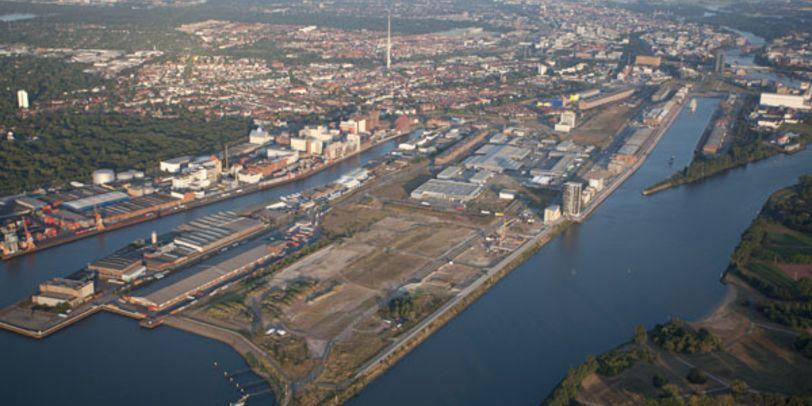 Luftaufnahme der Überseestadt