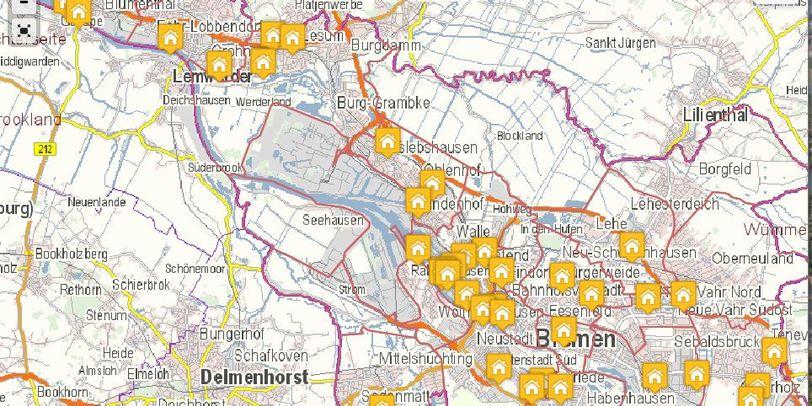 Kartenansicht von Bremen mit kleinen Häuschen