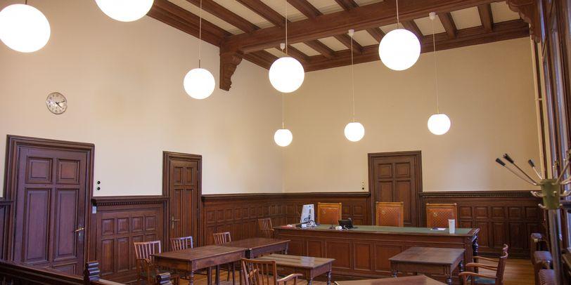 Blick in den Verhandlungssaal am Amtsgericht in Blumenthal
