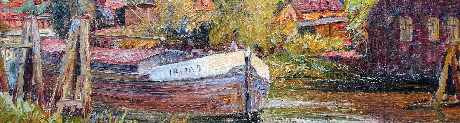 Bunte Zeichnung eines Bootes und einer farbenfrohen Landschaft
