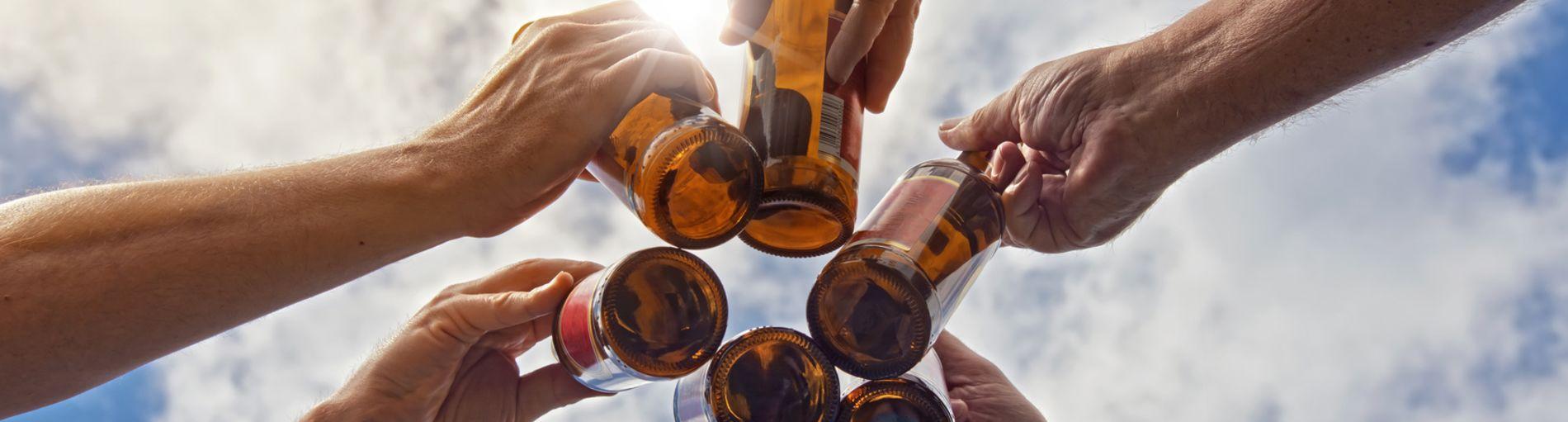 Sechs Hände prosten sich mit einer Flasche in der Hand zu