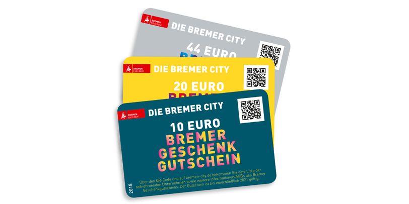 Das praktische EC-Kartenformat des Gutscheins in drei Farben und den drei Gutscheinhöhen.