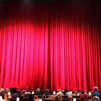 Ein großer roter geschlossener Vorhang, vor dem einige Menschen sitzen.