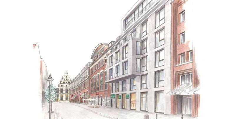 Eine Zeichnung von der Außenfassade in der Innenstadt