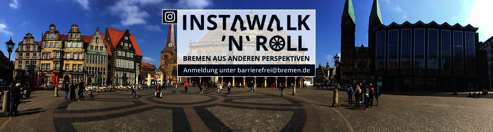 Werbemotiv für einen barrierefreien Stadtrundgang im Hintergrund Häuser auf dem Bremer Marktplatz