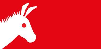 Icon zeigt weißen Esel auf rotem Hintergrund