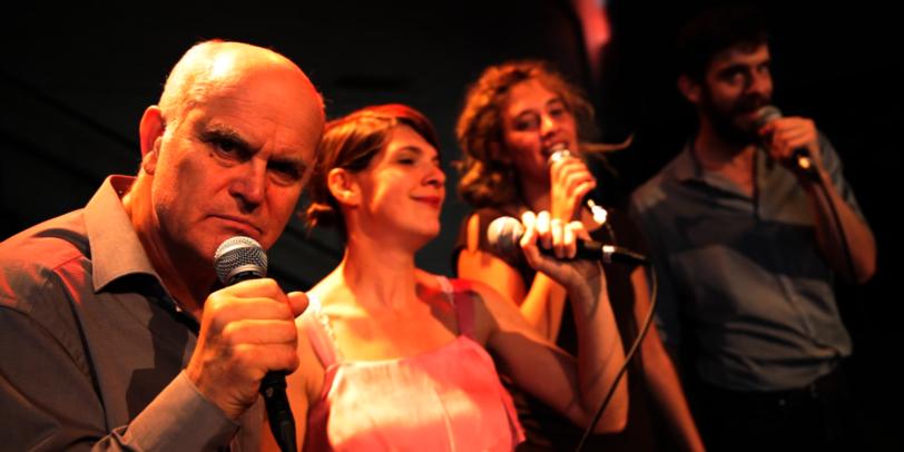 Crowdfunding Projekt: facebook - agb - das musical (v.l.n.r.: Mateng Pollkläsener, Ludmilla Euler, Lena Neckel, Damiaan Veens)