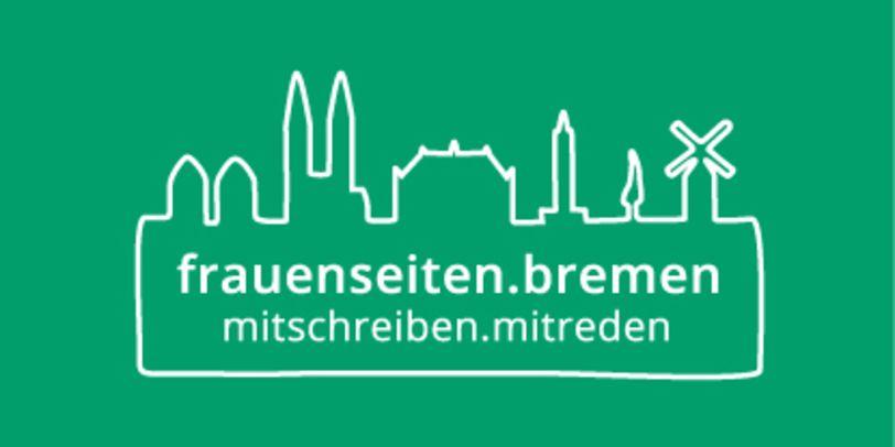 Das Logo der Frauenseiten besteht aus weißen Umrissen von Bremer Sehenswürdigkeiten auf einem grünen Hintergrund.