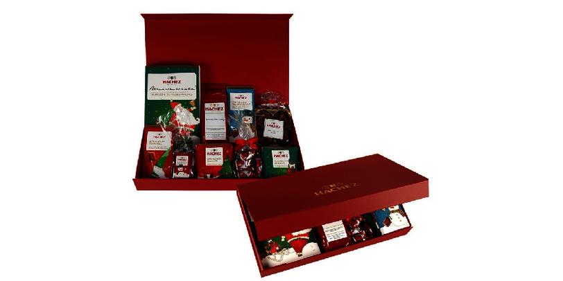 Weihnachtliche Geschenkbox von Hachez gefüllt mit Schokolade