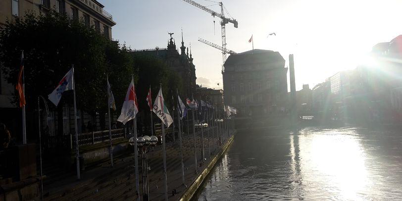 Blick auf die imposanten Kräne des Hamburger Hafens.