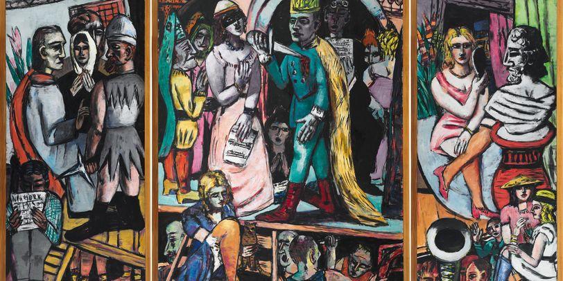 Das Bild zeigt eines der Kunstwerke von Max Beckmann. Es ist farbenfroh und abstrakt gestaltet.