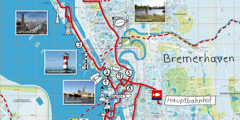 Eine Route ist in eine Karte eingezeichnet.