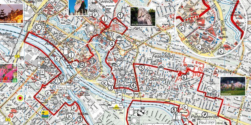 Kartenausschnitt von Bremen mit eingezeichneter Tour durch die Innenstadt.
