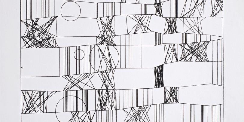 Eine schwarz - weiße Computergraphik von Frieder Nake.