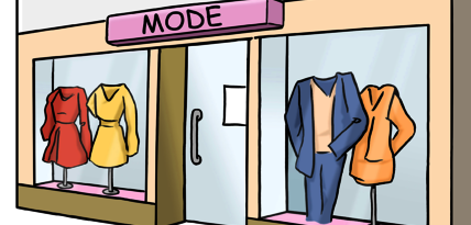Zeichnung von einem Mode-Geschäft.