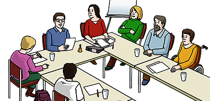 Zeichnung einer Gruppe von Menschen in einer Sitzung.