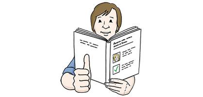 Zeichnung eines Mannes, der in einem Buch liest (Quelle: Lebenshilfe für Menschen mit geistiger Behinderung Bremen e.V.)