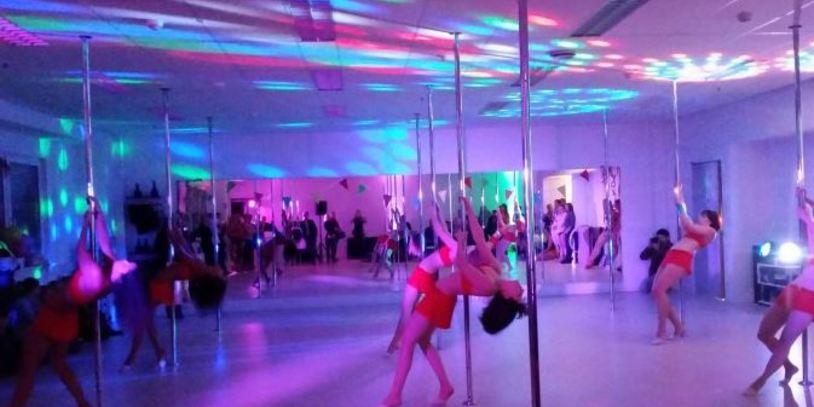 Teilnehmerinnen eines Pole Dancing Kurses beim Tanz an der Stange. <br />