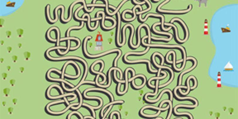 Nur ein Weg führt die Stadtmusikanten in einem Bilderrätsel durch den Räuberwald zum Räuberhaus.