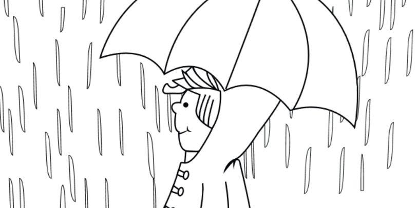 Ein Kind mit Regenschirm im Regen, Ausmalbild
