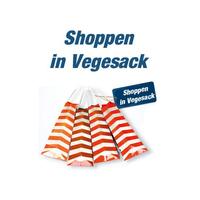 """Der Schriftzug """"Shoppen in Vegesack"""" steht über orange-weiß gestreiften Einkaufstüten."""