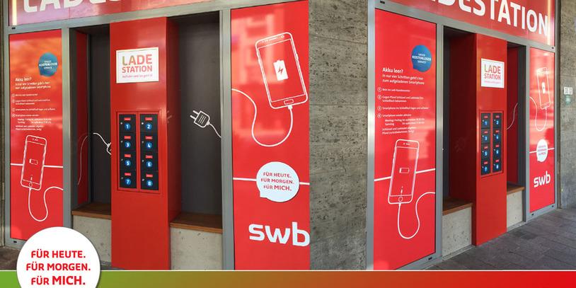 Bremens erste Smartphone Ladestation der swb am Wall/Sögestraße.