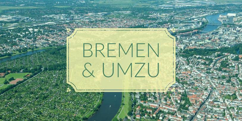 Luftaufnahme von Bremen mit Aufschrift Bremen und umzu