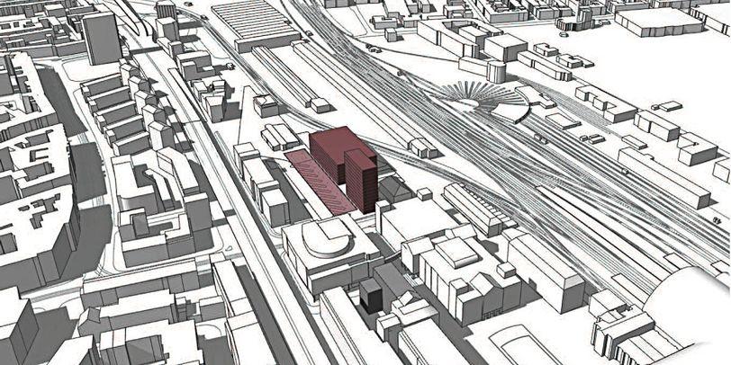 Eine Visualisierung zeigt die Bahnhofsgegend und das geplante Fernbusterminal