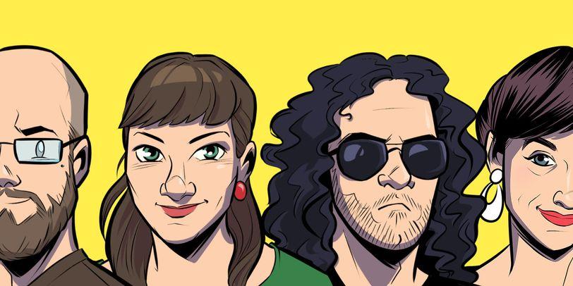 Die vier Podcaster als Comiczeichnung