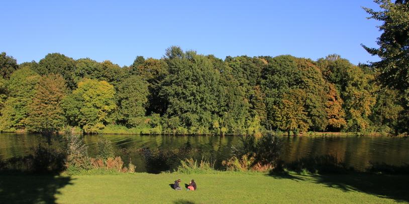 Saftig grüne Bäume und der Werdersee