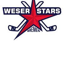Logo der Weserstars Bremen mit Schriftzug und einem rotem Stern, der von zwei Eishockeyschlägern eingerahmt ist.
